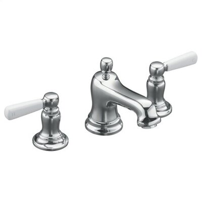 Bancroft Widespread Lavatory Faucet with White Ceramic Lever Handles - 10577-4P