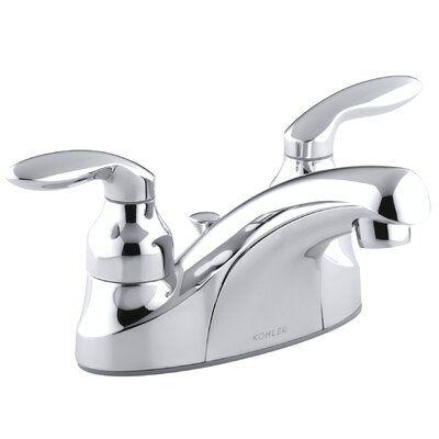 Coralais Centerset Lavatory Faucet with Lever Handles, Pop-Up Drain and Lift Rod - P15241-4