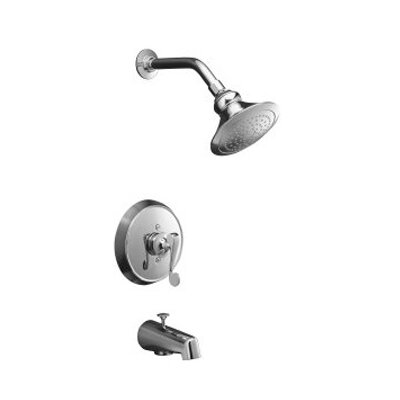 Kohler Revival Rite-Temp Pressure-Balancing Bath and Shower Faucet Trim with Scroll Lever Handle and Standard Showerarm and Flange