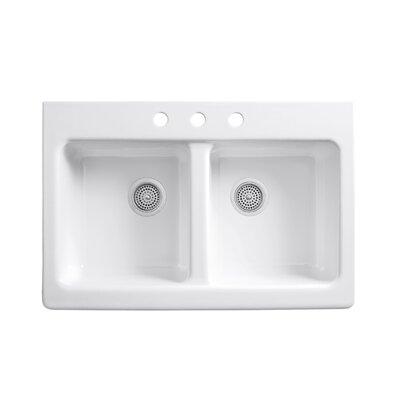 Apron Sink With Faucet Holes : ... Apron-Front Tile-In Double-Equal Kitchen Sink with 3 Faucet Holes