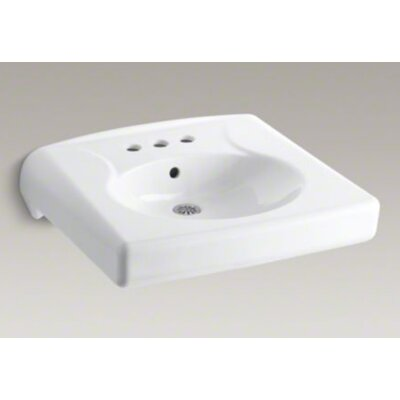 Brenham Wall-Mounted or Concealed Carrier Arm Mounted Commercial Bathroom Sink with 4