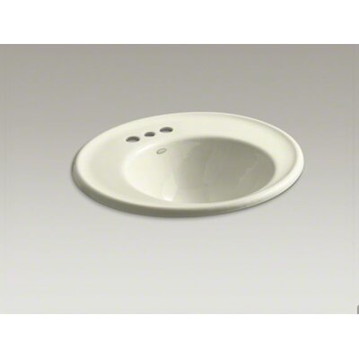Kohler Iron Works Wall-Mount Bathroom Sink with Single Faucet Hole and Almond Exterior