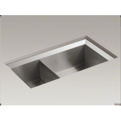 "Kohler Poise 33"" X 18"" X 9-1/2"" Under-Mount Large/Medium Double-Bowl Kitchen Sink"