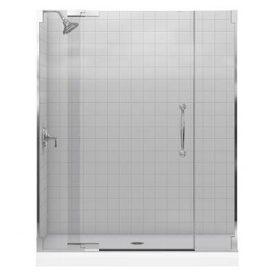 Kohler Finial Frameless Pivot Shower Door with 0.38&quot; Thick Crystal Clear Glass, 45.25&quot; - 47.75&quot; X 72.25&quot;