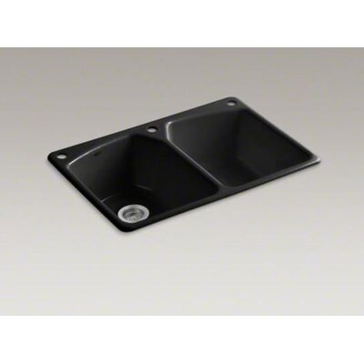 "Kohler Tanager 33"" X 22"" X 9-5/8"" Top-Mount Double-Equal Bowl Kitchen Sink with Three Holes: 1 Faucet Hole and Right Hand and Left Hand Accessory Holes"