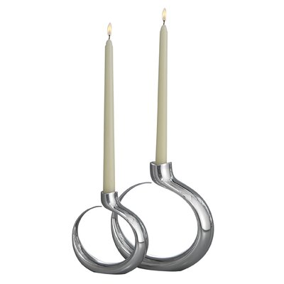 Nambe Globe Candlestick Holders (Set of 2)