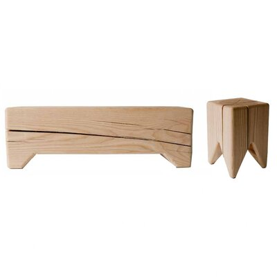 Kalon Studios Stump and Trunk Solid Wood Bench