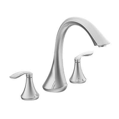 <strong>Moen</strong> Eva Double Handle Deck Mount Roman Tub Faucet Trim Lever Handle