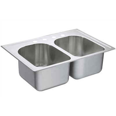 "Moen Lancelot 33"" x 22"" Equal Double Bowl Deep Drop-In Kitchen Sink"