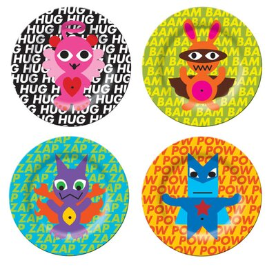 French Bull Superhero Kids Plates (Set of 4)