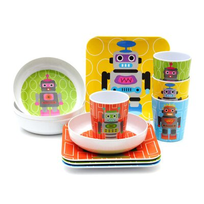 French Bull Robot Kids 16 Piece Dinnerware Set