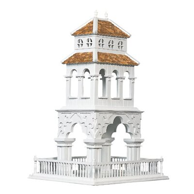 Home Bazaar Summer Palace Bird Feeder in Victorian White