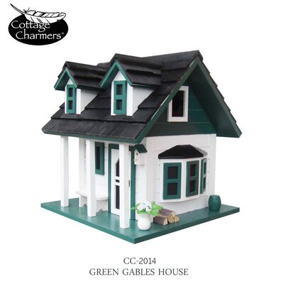 Home Bazaar Cottage Charmer Series Green Gables Free Standing Birdhouse