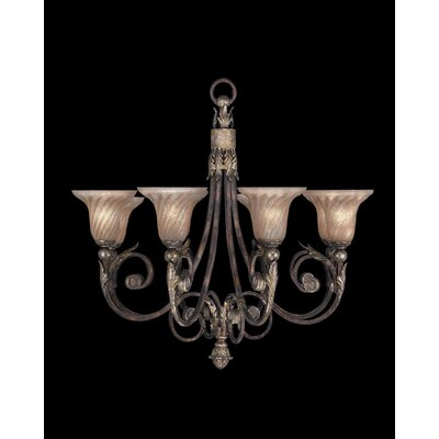 Stile Bellagio Eight Light Chandelier in Tortoised Leather Crackle