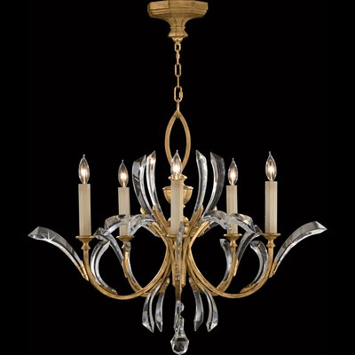 Fine Art Lamps Beveled Arcs Gold 5 Light Chandelier