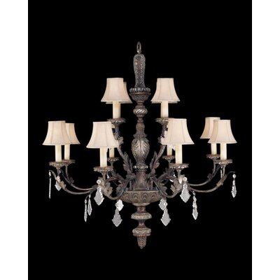 Stile Bellagio Twelve Light Chandelier in Tortoised Leather Crackle