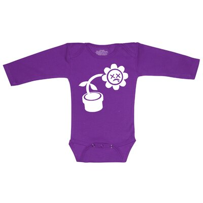Redsnapper Humorous Flower Bodysuit with Long Sleeve Purple