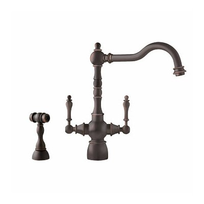 Farm House Double Handle Single Hole Monoblock Kitchen Faucet with Side Spray