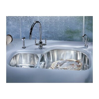 "Franke Prestige 36"" Stainless Steel Left Hand Double Bowl Kitchen Sink"