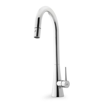 Contemporary Single Handle Single Hole Goose Neck Kitchen Faucet