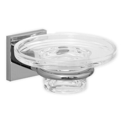 Hansa HansaQuadris Soap Dish Holder with Glass Dish in Chrome