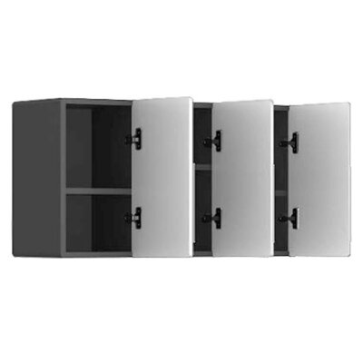Ulti-MATE 3-Door Partitioned Wall Cabinet in Starfire Pearl