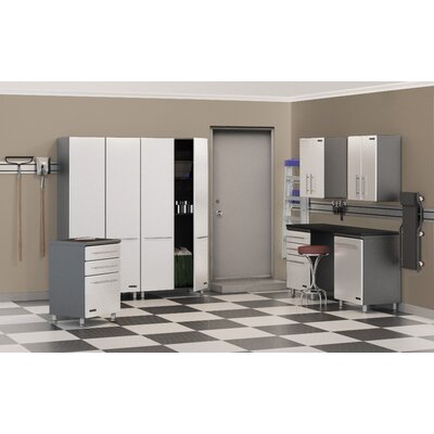 Ulti-MATE Storage 8-Piece 14' Deluxe Storage System with Workstation in Starfire Pearl