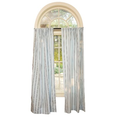 Go Mama Go Blue with Chocolate Stripes Curtain Panel Pair