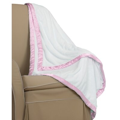 Go Mama Go Cream Minky Toddler Blanket with Pink Satin Trim