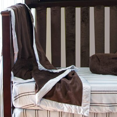 Go Mama Go Chocolate Minky Toddler Blanket with Blue Satin Trim