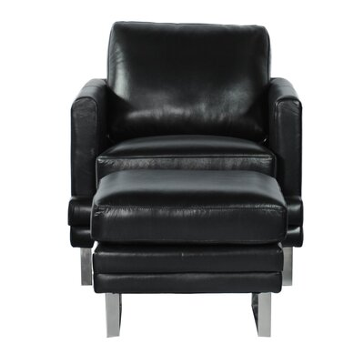 Lazzaro Leather Arm Chair and Ottoman