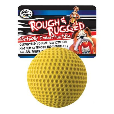 "Four Paws 2.75"" Rough and Rugged Golfball with Bell Dog Toy"