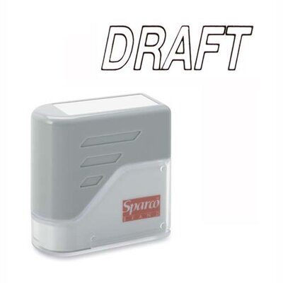 "Sparco Products DRAFT Title Stamp, 1-3/4""x5/8"", Black Ink"