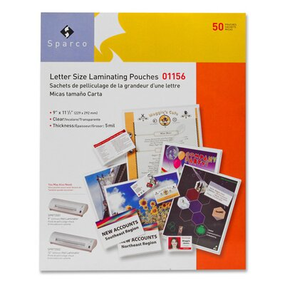 "Sparco Products Laminating Pouch, Letter Size, 9""x11-1/2"", 3 mil, 50 per Box, CL"