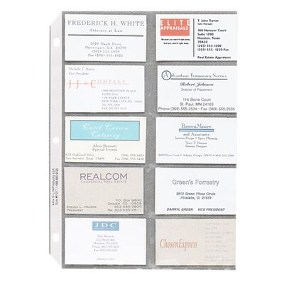 "Sparco Products Business Card Sleeves, Side Load, 11""x8-1/2"", 10/PK, Clear"