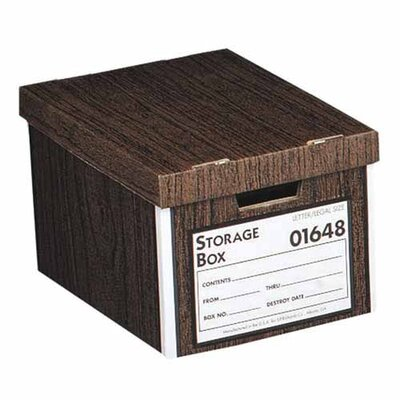 Sparco Products Storage Box, Medium-Duty, Letter/Legal, 12&quot;x15&quot;x10&quot;, Woodgrain