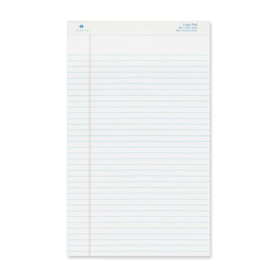 "Sparco Products Legal Ruled Pad, Micro-Perforated, Legal, 8-1/2""x14"", Canary/White, 50 Sheets, 12-Pack"