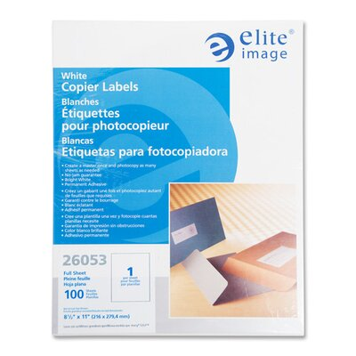 "Elite Image Copier Mailing Labels, 1""x2-3/4"", 3300/PK, White"