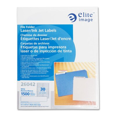 Elite Image Filing Labels, Laser/Inkjet, White, 2/3&quot;x3-7/16&quot;, 1500 per Pack