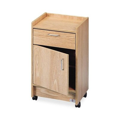 "Hausmann Industries Drawer and Cabinet Mobile Cart, 1Drwr/1Door, 18-1/2""x18-1/2""x30"", Oak"
