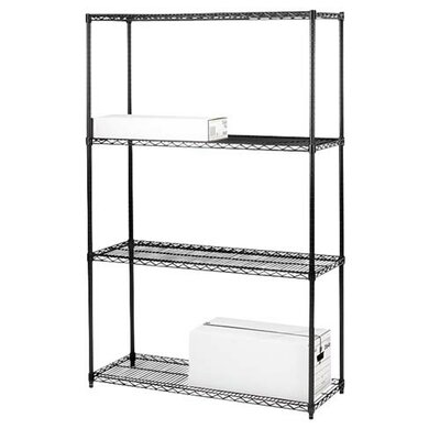 "Lorell 4-Tier Industrial Wire Shelving Starter Unit, 36"" x 18"" x 72"", Black"