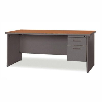 Lorell Durable Single Pedestal Computer Desk with Radius Edges