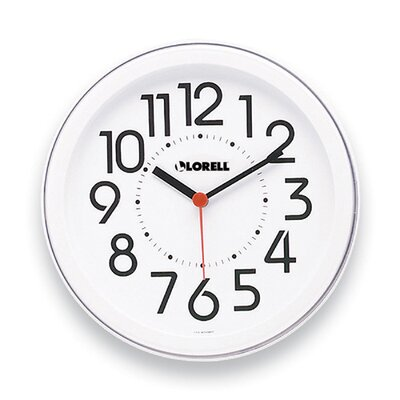 Lorell Round Profile Radio-Controlled Wall Clock, White