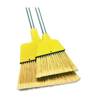 "Genuine Joe Angle Broom, High Performance Bristles, 12"" W, Yellow"