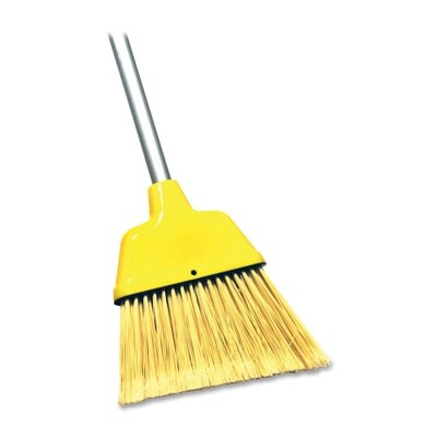 "Genuine Joe Angle Broom, High Performance Bristles, 9"" W, Yellow"