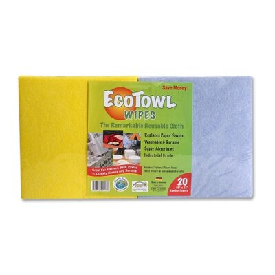 "Genuine Joe Ecotowl Wipes, Reuseable, 16""x15"", 20 per Pack, Assorted"