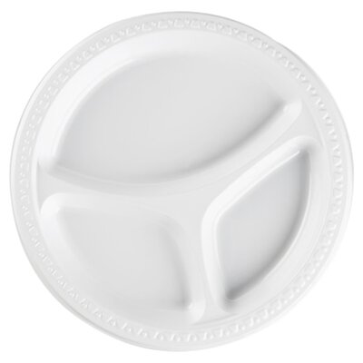 Plastic Divided Plates, White