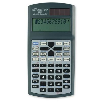 Compucessory Compucessory Dual Power Scientific Calculator, Charcoal gray