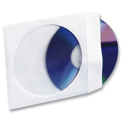 "Compucessory CD/DVD White Window Envelopes, 5""x5"", White, 100 per Box"