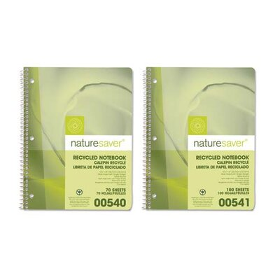 "Nature Saver Recycled Paper Notebooks, Gray, 70 Sheets, College Ruled/ML, 10-1/2""x8"""